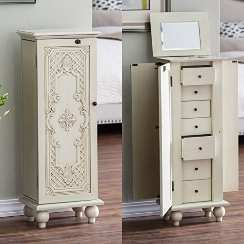 Jewelry Armoire - Antique White Wood Seven Drawers Ornate Door - Cozy Home of Your Jewels ()