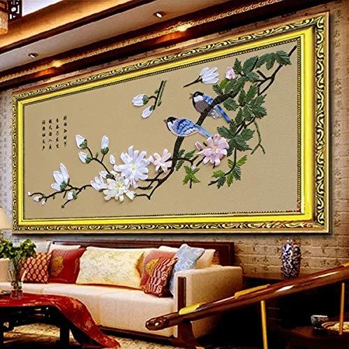 Ribbon Embroidery Kit for Beginner Flower Design DIY Home Wall Decor Spring-Singing Birds