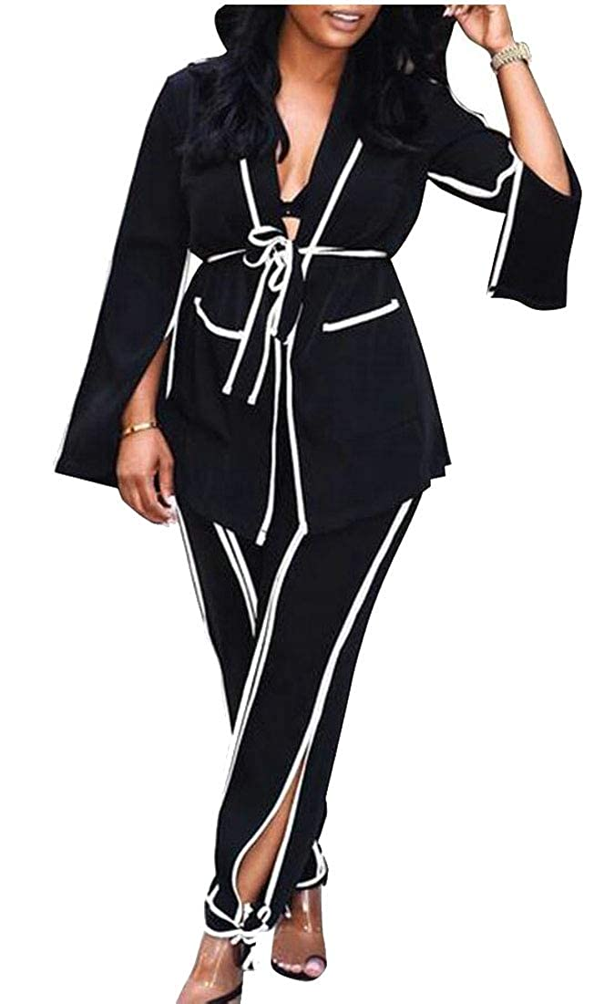 desolateness Womens 2 Piece Outfits Long Sleeve Blazer with Pant Elegant Business Suit Set