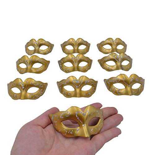 Mini Masquerade Masks Party Decorations - Yiseng 10pcs pack Supper Small Mardi Gras Venetian Gold Mask Decor Party Favors for -