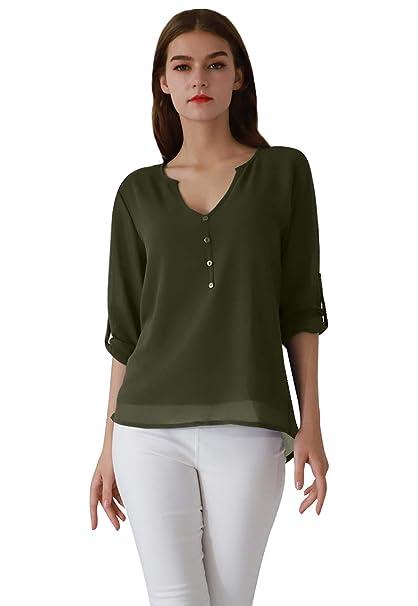589f0305d4ff OMZIN Damen Chiffon Bluse V-Ausschnitt Henley Shirt Casual Langarm  Oberteile XS-XXXL