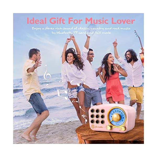 Retro Bluetooth Speaker Vintage Radio Greadio Fm Radio With Old Fashioned Classic Style Strong Bass Enhancement Loud Volume Bluetooth 42 Wireless Connection Tf Card And Mp3 Player Pink