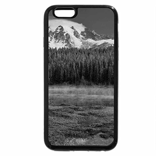 iPhone 6S Plus Case, iPhone 6 Plus Case (Black & White) - fog covered lake in lovely landscape