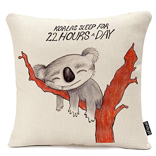 Decorative Throw Pillow Covers Sleeping Koala Square Cushion Cases for Couch Sofa Bedroom Kids' Room Car Office 18 x 18 Inch Pillow Case