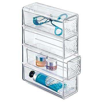 mDesign Organizador de maquillaje con cuatro cajones - Práctica caja de maquillaje para esmalte, polvo etc. - La caja para guardar maquillaje perfecta ...