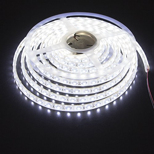 LEDMY Led Strip Waterproof Led Light Strip Super Bright DC12V 24W SMD3528 300LEDs IP68 Led Underwater Lights Cool White 6000K 5Meter/ 16.4Feet Using for Homes, Kitchen Cabinet Lights and Outdoor