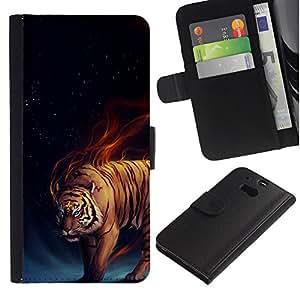 Planetar® Modelo colorido cuero carpeta tirón caso cubierta piel Holster Funda protección Para HTC One M8 ( Tigre del fuego ardiente azul Oscuridad Negro Animal )