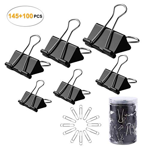 CENTSTAR 145 Pcs Assorted Size Binder Clips + [100 Bonus Paper Clips] - 6 Sizes Paper Clamp Meet Your Different Using Needs for Paper - Sturdy Container Included (145 Pcs +100 Bonus Paper Clips) (Sizes Paper Assorted Clips)