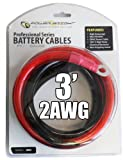 Power Bright 2-AWG3 2 AWG Gauge 3-Foot Professional Series Inverter Cables 2000-2500 watt