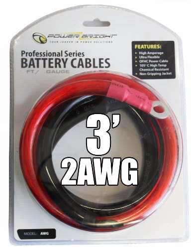 (Power Bright 2-AWG3 2 AWG Gauge 3-Foot Professional Series Inverter Cables 2000-2500 watt)