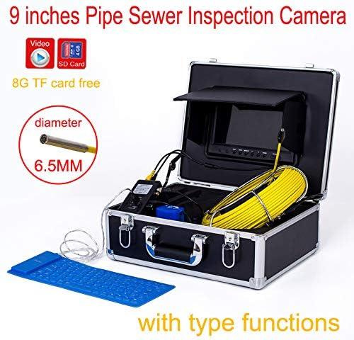 9インチ6.5 ミリメートル産業用パイプライン下水道検出カメラ IP68 防水排水検出 1000 TVL カメラ DVR ビデオ (40M)