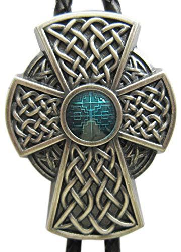 Vintage Silver Plated Celtic Blue Enamel Cross Knot Wedding Bolo Tie