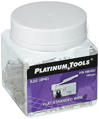 Platinum Tools 106103J RJ-22 (4P4C), Flat-Stranded. 100/Jar.(Pack of 100)