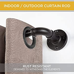 """Kenney KN90031 5/8"""" Adler Rust Resistant Indoor/Outdoor Ceiling or Wall-Mount Window Curtain Rod, 48-84"""""""