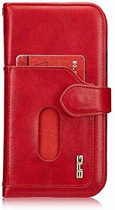 iPhone X Hülle, COOSTOREEU Premium-PU-Leder mit Kartensteckplätzen, Starkes Magnetic, Two-in-One-Trennung, innen mit Ständer, Luxus-Armband Multifunktionskoffer für Apple iPhone X,Rot