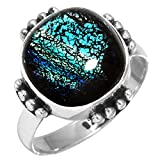 Solid 925 Sterling Silver Unique Jewelry Dichroic Glass Gemstone Ring Size 8
