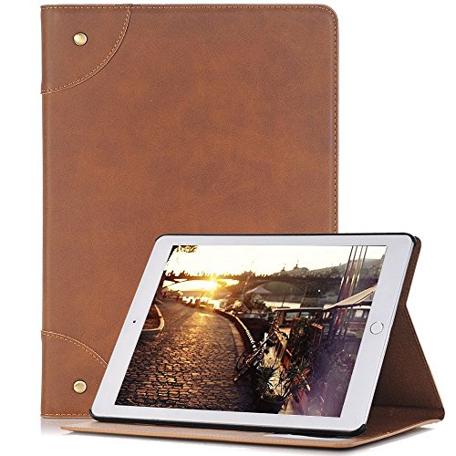 """Price comparison product image elecfan 9.7"""" iPad 5th Gen Case,  Premium Vintage Case, Book Cover Design, Ultra Slim Well-Fit Lightweight, Multi-Angle Viewing Stand, Smart Cover for Apple 2017&2018 iPad 9.7 - Light Brown"""