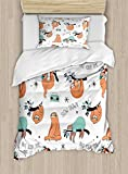 Ambesonne Sloth Duvet Cover Set Twin Size, Pattern with Cute Hand Drawn Sloths on Branches Laziness Mood Quotes Fun, Decorative 2 Piece Bedding Set with 1 Pillow Sham, Orange Light Blue Black