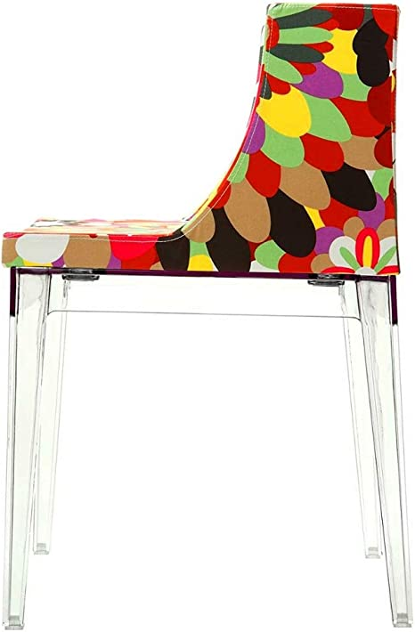 Amazon Com Funky Chair Upholstered Dining Chair Multicolor Accent Chair With Arms Acrylic Side Chair Clear Cushion Seat Stackable Living Room Vanity Bedroom Residential Or Commercial Use Chairs