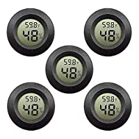 5-Pack Mini Hygrometer Thermometer with Digital LCD Monitor Indoor Room Round Humidity Temperature Meter Gauge for Humidors Home Humidifiers Car Greenhouse Babyroom