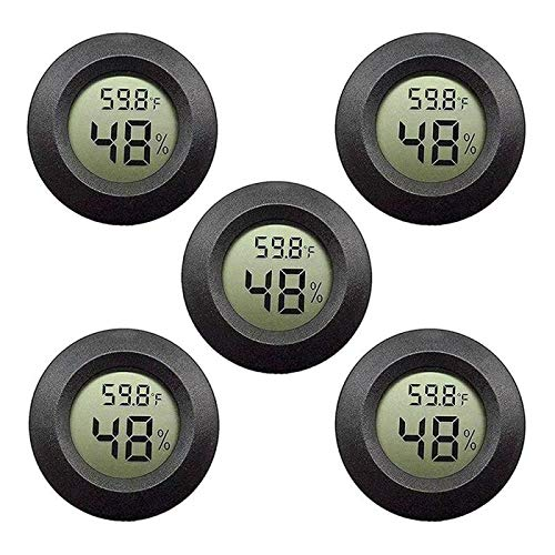 Eillet 5-Pack Mini Hygrometer Thermometer with Digital LCD Display Indoor Temperature and Humidity Meter for Home Office Humidifiers Humidors Car Greenhouse Babyroom -