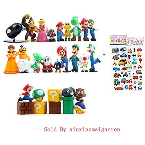 28 Piece Super Mario Bros Super Mary Princess, Turtle, Mushroom, Orangutan , Super Mario Action Figures, 2
