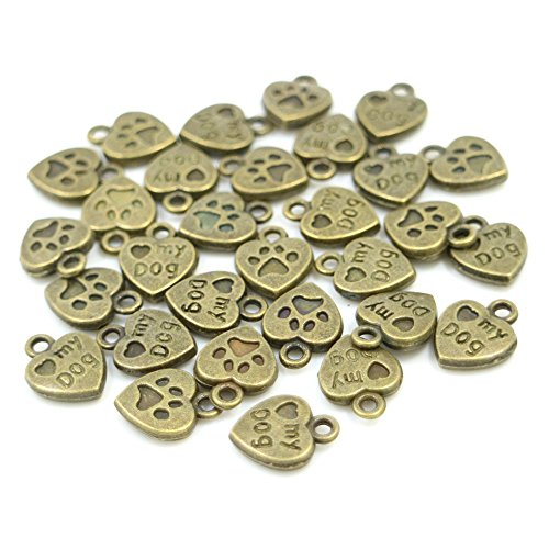 (100pcs Mixed Color Vintage My Dog Paw Heart Shape Charms Pendant, DIY Crafts, Jewelry Making Charms Pendant (Antiqued Bronze) )