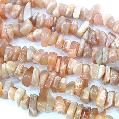 Natural Color Real Gemstone Beads 8-12mm Chips for Jewerly Bracelet Making (Peach (Moonstone Chip)