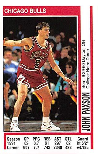 1991-92 Panini Stickers Basketball #115 John Paxson Chicago Bulls 2 inch by 3 inch collectible NBA Album Sticker