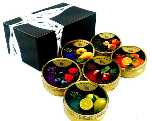 Cavendish & Harvey Drops 6-Flavor Variety: One 5.3 oz Tin Each of Orange, Mixed Fruit, Pear & Blackberry, Wild Berry, Sour Cherry, and Sour Lemon in a BlackTie Box (6 Items Total) by Black Tie Mercantile (Image #6)