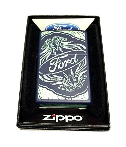 (Zippo Custom Lighter - Ford Logo with Embellishments - Regular Navy Matte)