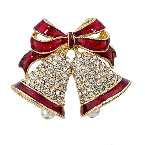 Madison Tyler Holiday Collection Double Bell Pin with Epoxy, Stones, and Pearl Clapper (Christmas Madison Sweaters)