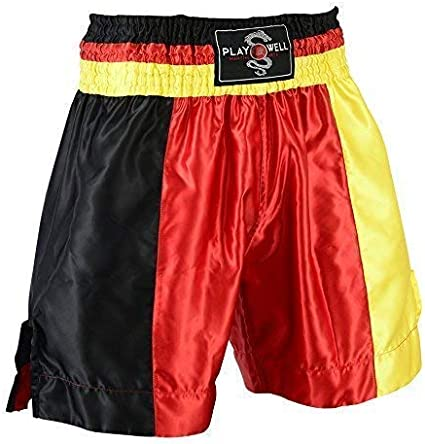 UK Flag Series Boxing Competiton Black Satin Training Shorts