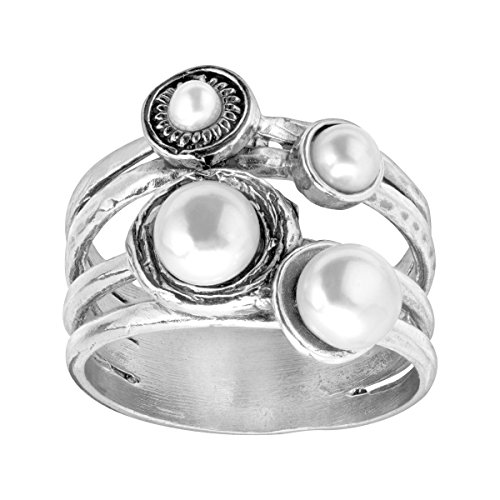 Ocean White Pearl Ring - Silpada 'Oceans Away' Ring with 3, 4, 6 mm Freshwater Cultured Pearls in Sterling Silver Size 8