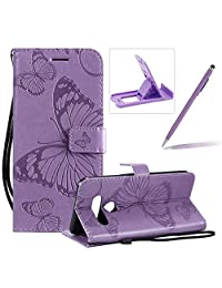 Strap Leather Case for LG V50,Wallet Leather Case for LG V50,Herzzer Premium Stylish Pretty 3D Purple Butterfly Printed Magnetic Soft Rubber Stand Case with Card Slots