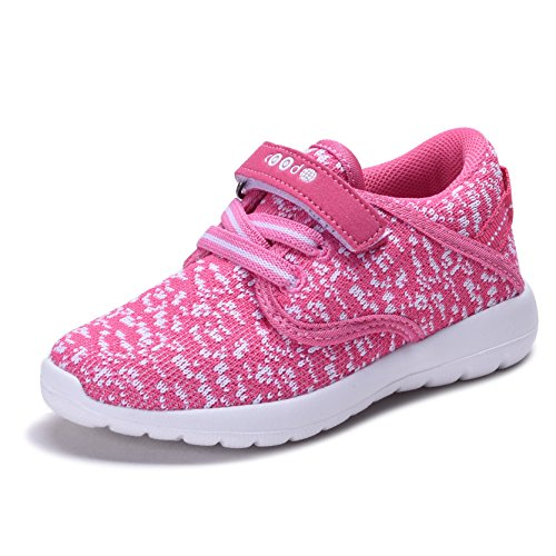 COODO CD3001 Kid's Lightweight Sneakers Girls Cute Casual Running Shoes FUCHSIA/WHITE-3 - Kids Shoes