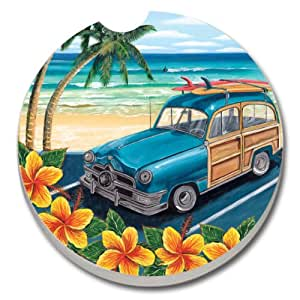 CounterArt Absorbent Stoneware Car Coaster, Beach Classics II