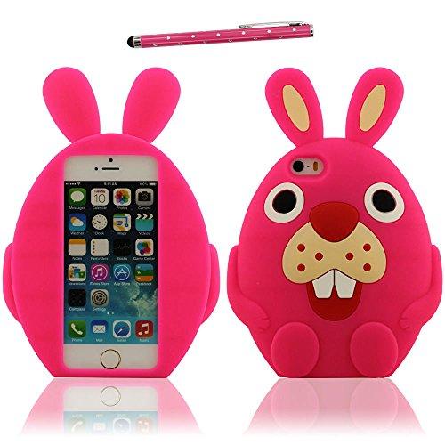 iPhone 5 SE Coque Case Doux Silicone Plastique Gel Housse de Protection Charmant Cartoon lapin Forme Rose vif Etui Apple iPhone 5 5S 5C / iPhone SE X 1 stylet