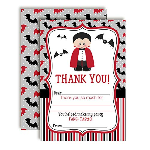 Dracula Fang-tastic Halloween Vampire Birthday Thank You Notes for Kids, Ten 4