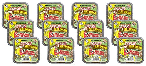 C&S Products 12 Pack of Woodpecker Delight No Melt Suet Dough, 11.75 Ounces each, for Year Round Wild Bird Feeding
