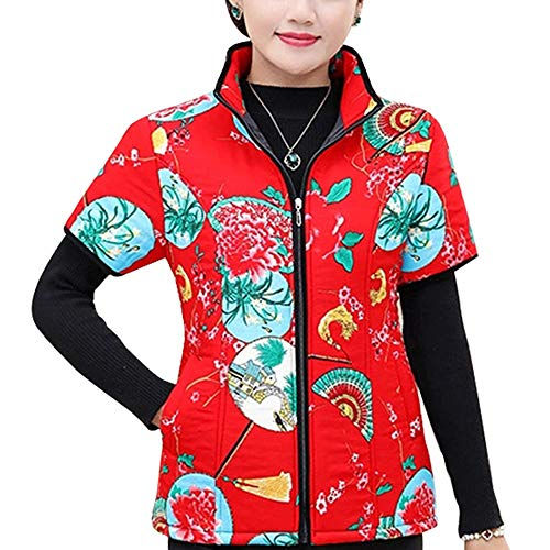 Donna Con Cotone Gilet Inverno Stile In Xl Giacca Caldo Cappotti Manica Cerniera 5xl Mezza Zevonda Forti Stampa 11 Taglie BI1PwX