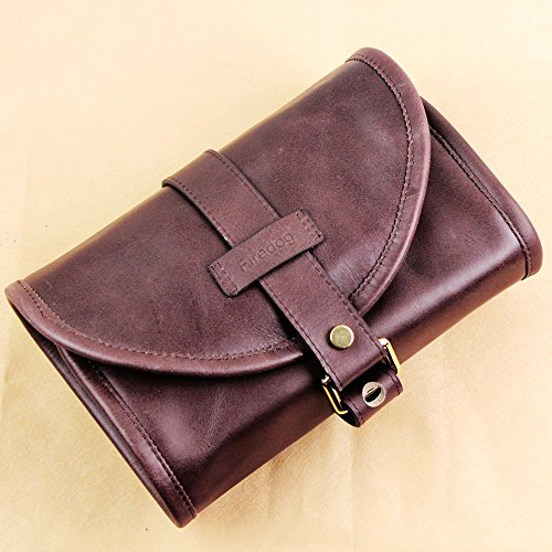 Traditional Brown Genuine Leather Tobacco Smoking Pipe Pouch Bag Organize Case Pipe Tool Lighter Holder Pocket 2 Pipe (red-Brown)