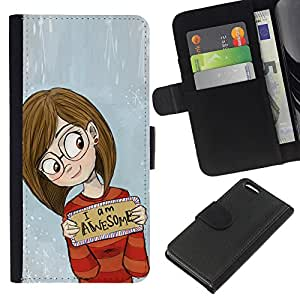 Stuss Case / Funda Carcasa PU de Cuero - Inspirado Chica Gafas - Apple Iphone 5C