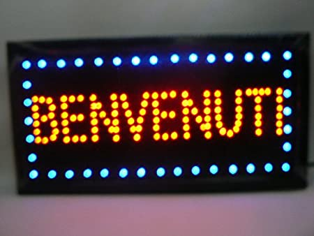 SEÑAL LUMINOSA LED, CON MENSAJE «BIENVENIDOS», PARA VITRINA ...