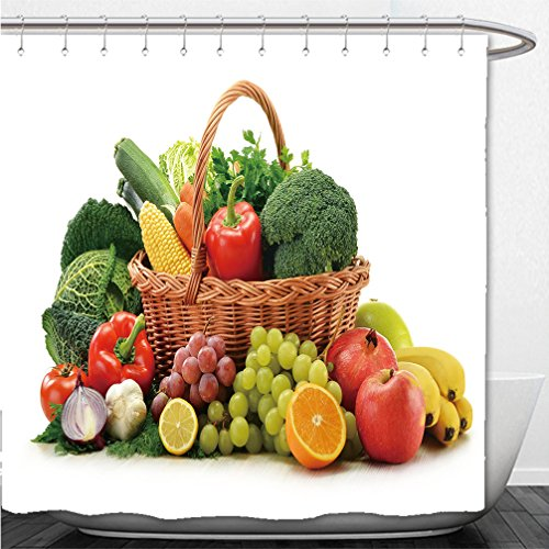Interestlee Shower Curtain composition with vegetables and fruits in wicker basket isolated on white 88218493