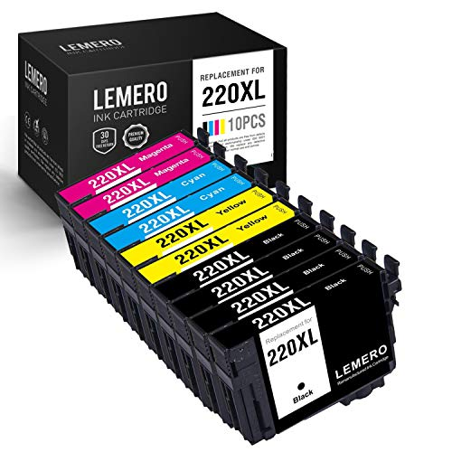 (LEMERO Remanufactured Ink Cartridge Replacement for Epson T220XL ( Black,Cyan,Magenta,Yellow ,)