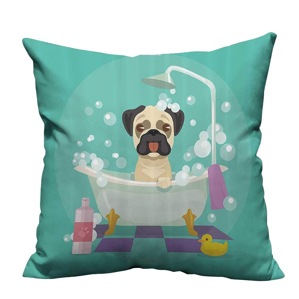color09 27.5x27.5 inch color09 27.5x27.5 inch Household Pillowcase Dog in Bathtub Grooming Doggy Puppy Service Shampoo Rubr Duck Pets Carto Perfect for Travel 27.5x27.5 inch(Double-Sided Printing)