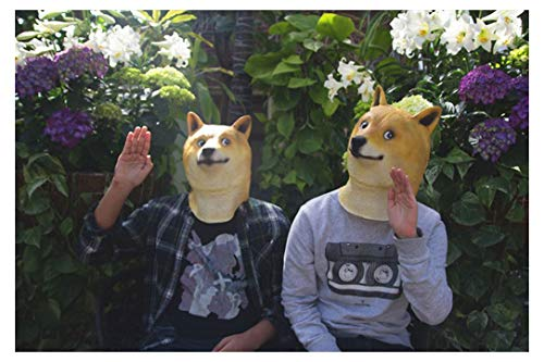 Aviat Happy Halloween Shiba Inu Dog 3D Mask,Funny Scary Realistic Grimace Monster Toy,Natural Harmless Latex,Decorations for Halloween Masquerade Cosplay Party Festival Costume Props ()