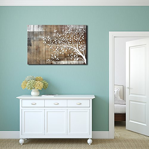 9a25dc393f2 wall26 - Abstract Tree Canvas Wall Art - White Tree Branch with Leaves on Wood  Style Background - Gallery Wrap Modern Home Decor