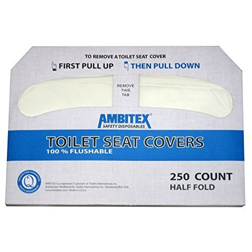 White 1/2-fold Toilet Seat Cover, 17.44'' Length X 14.5'' Width (Case of 4 Packs, 250 Per Pack) by Ambitex (Image #1)